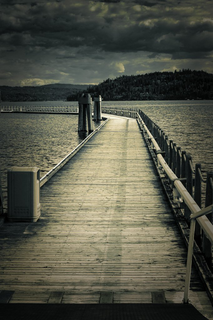 Moonlit boat dock on Coeur D' Alene Lake. Fine Art Photographic Print for Home Decor in 8x10 8x12 11x14 12x18 16x24 20x30 24x36 sizes
