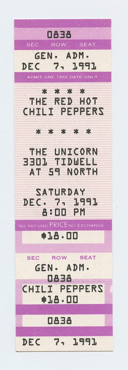Red Hot Chili Peppers 1991 Dec 7 The Unicorn, Houston Unused Ticket