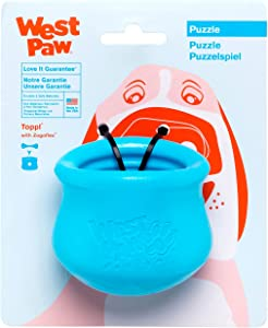 WEST PAW Zogoflex Toppl Treat Dispensing Dog Toy Puzzle – Interactive Chew Toys for Dogs – Dog Toy for Moderate Chewers, Fetch, Catch – Holds Kibble, Dog Training Treats, Made in USA