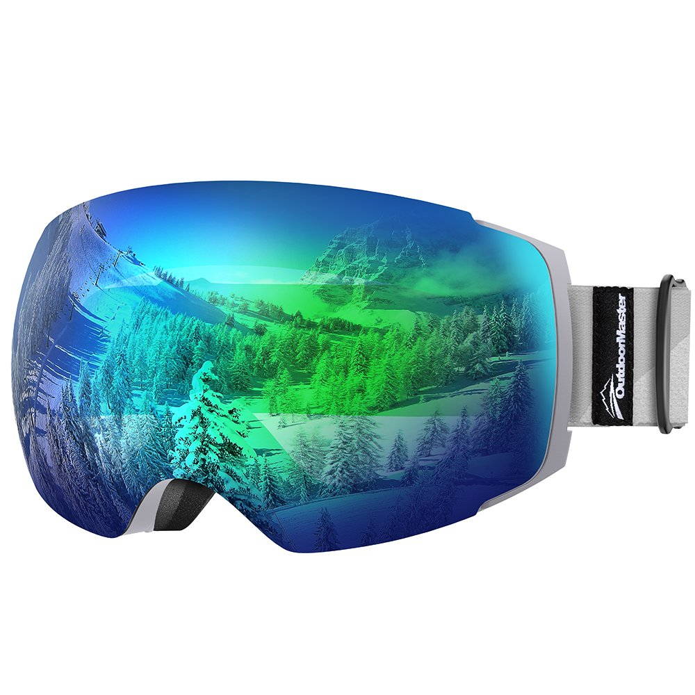 OutdoorMaster Ski Goggles PRO - Frameless, Interchangeable Lens 100% UV400 Protection Snow Goggles for Men & Women (Grey Frame VLT 18% Grey Lens with Full REVO Green and Free Protective Case) by OutdoorMaster