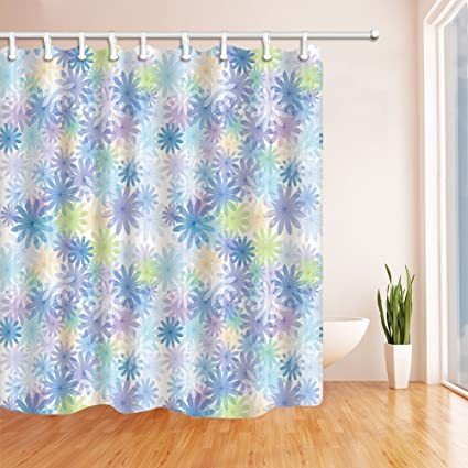 GoEoo Vetor Flowers In Blue Shower Curtain Mildew Resistant Polyester Fabric Bathroom Bath Curtains Set With