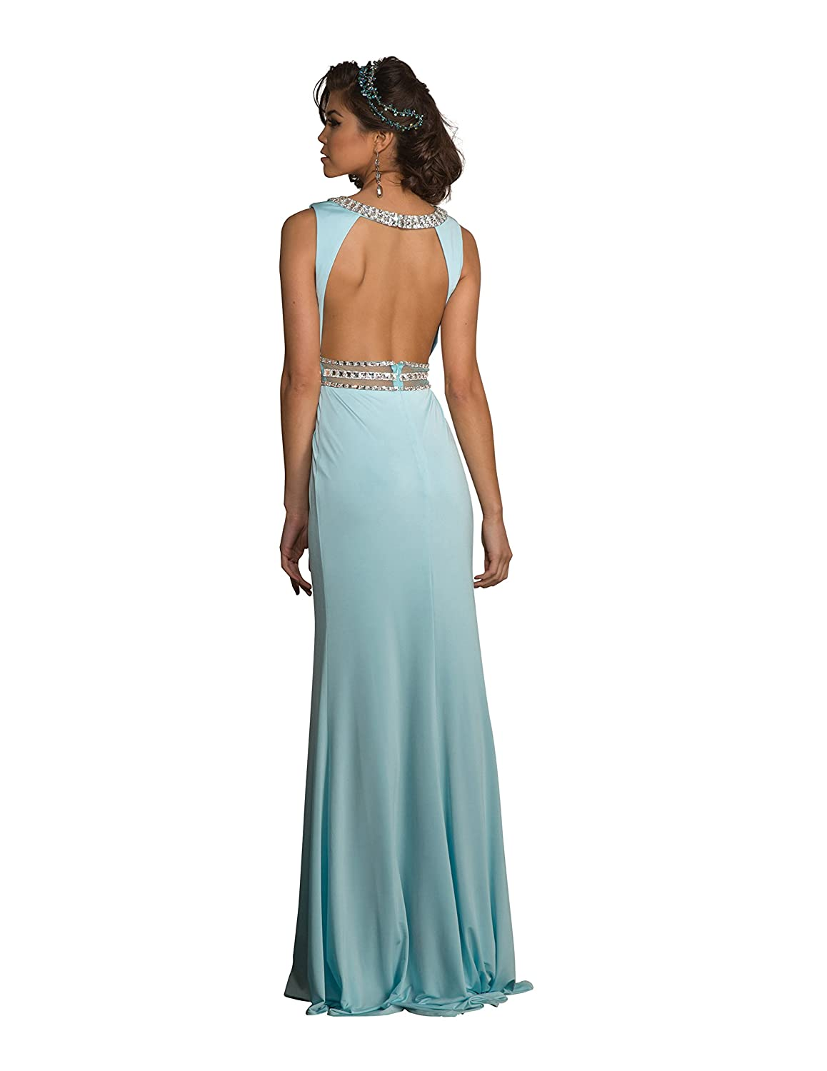Amazon.com: Clarisse Womens Jeweled Prom Dress and Evening Gown 2601 Size 00 Blue: Clothing