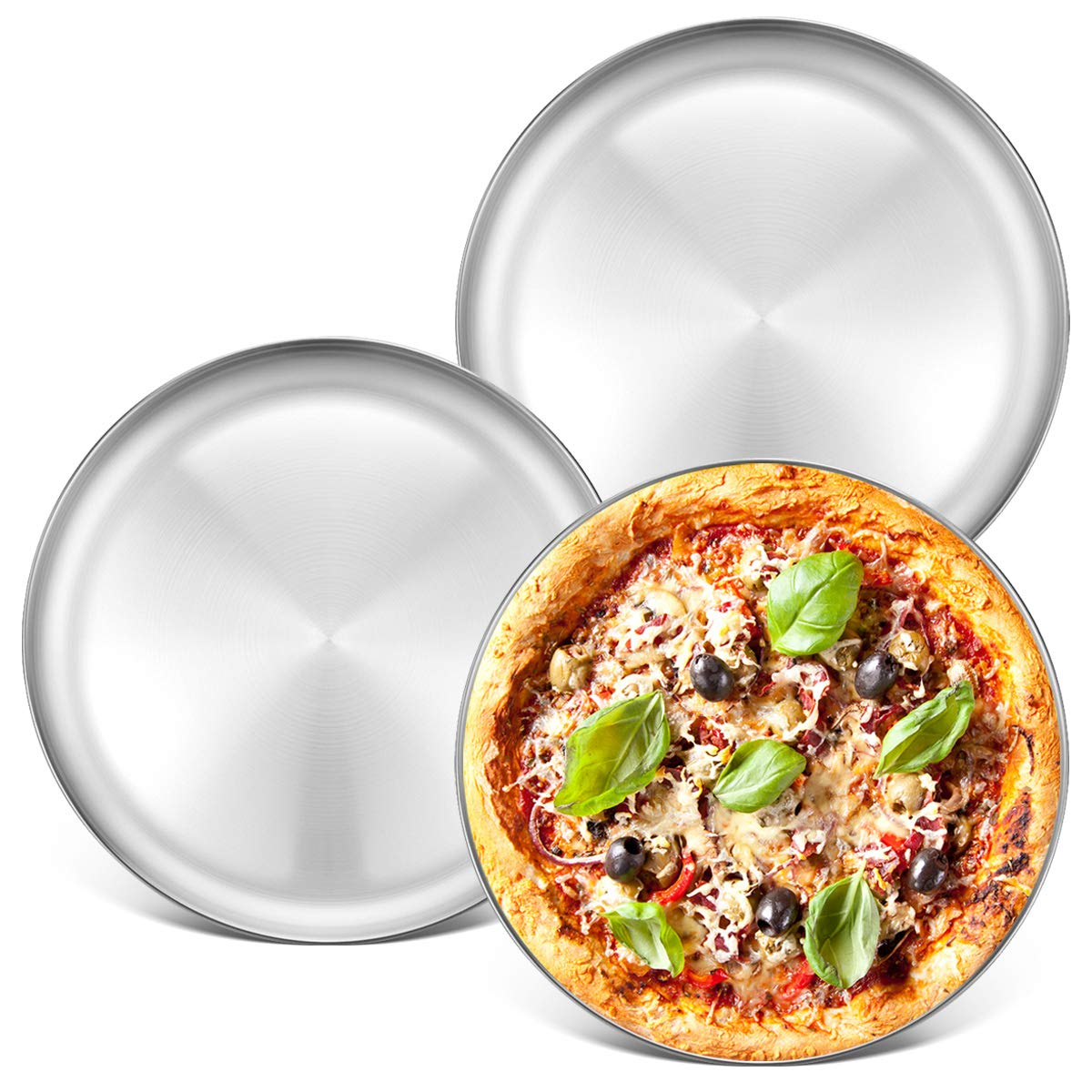 Stainless Steel Pizza Pan 13.39 inch - Deedro Round Pizza Tray Pizza Baking Sheet, Nonstick Pizza Baking Pan Dishewsher Safe Pizza Serving Tray, 3 Pack