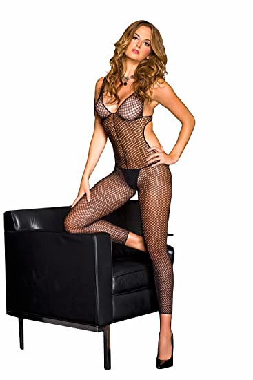 0eee9e3a56 Amazon.com  MUSIC LEGS Women s Crochet Cut Out Footless Bodystocking ...
