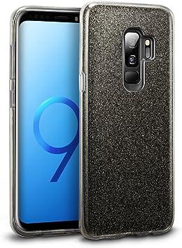 Coovertify Funda Purpurina Brillante Negra Samsung S9 Plus, Carcasa Resistente de Gel Silicona con Brillo Negro para Samsung Galaxy S9 Plus (6,2