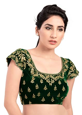 53e1f925f8790d Amazon.com  Elegant Green Velvet Ready-made Indian Saree Blouse - KP-46   Clothing