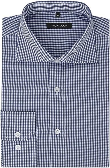 vidaXL Camisa de Vestir para Hombre Talla S-XXL Cuadros Blanca y Azul Claro/Blanco y Azul Marino Slim-Fit: Amazon.es: Ropa y accesorios