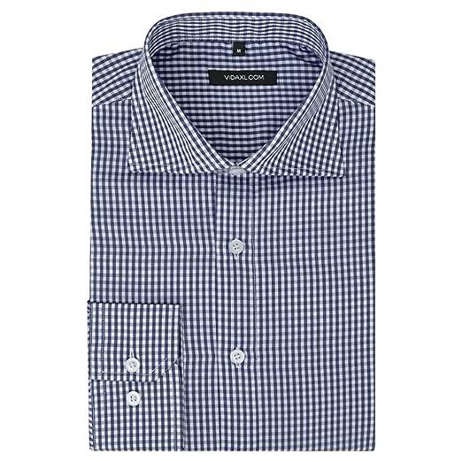 ACCEWIT - Camisa para Hombre, Color Blanco y Azul Marino a Cuadros ...