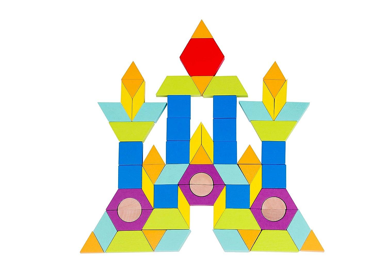 Toysters 150ピース 木製幾何学モザイクブロックビルディングブロック カラフルな幾何学タングラムパターンパズル BPAフリー 木製ゲームセット 幼児用 インタラクティブSTEM教育玩具   B07LFLLKZ9