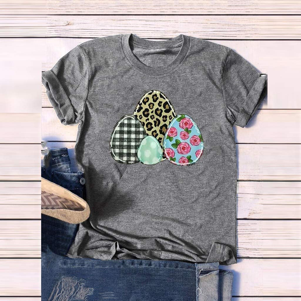 Beautyfine Womens Letter Print//Funny Pattern Easter Day Short Sleeve T-Shirt Classic Crew Neck Tunic Tops Summer Spring