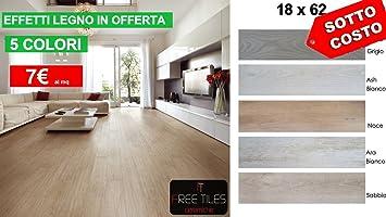 Campione: piastrelle pavimento gres effetto legno 18x62 bianco
