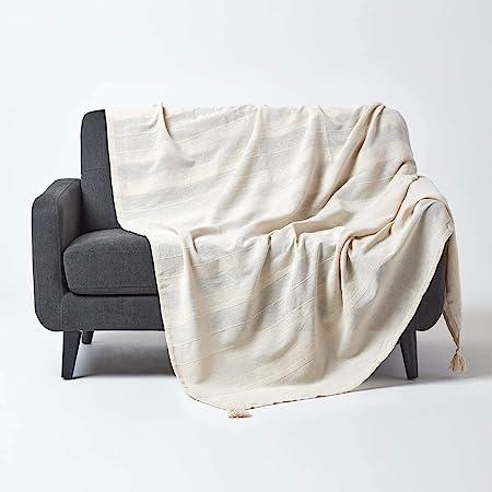 HOMESCAPES Funda de sofá/Manta, Hecho a Mano 100% de algodón Estilo de cordoncillo Color Natural 177 x 254 cm: Amazon.es: Hogar