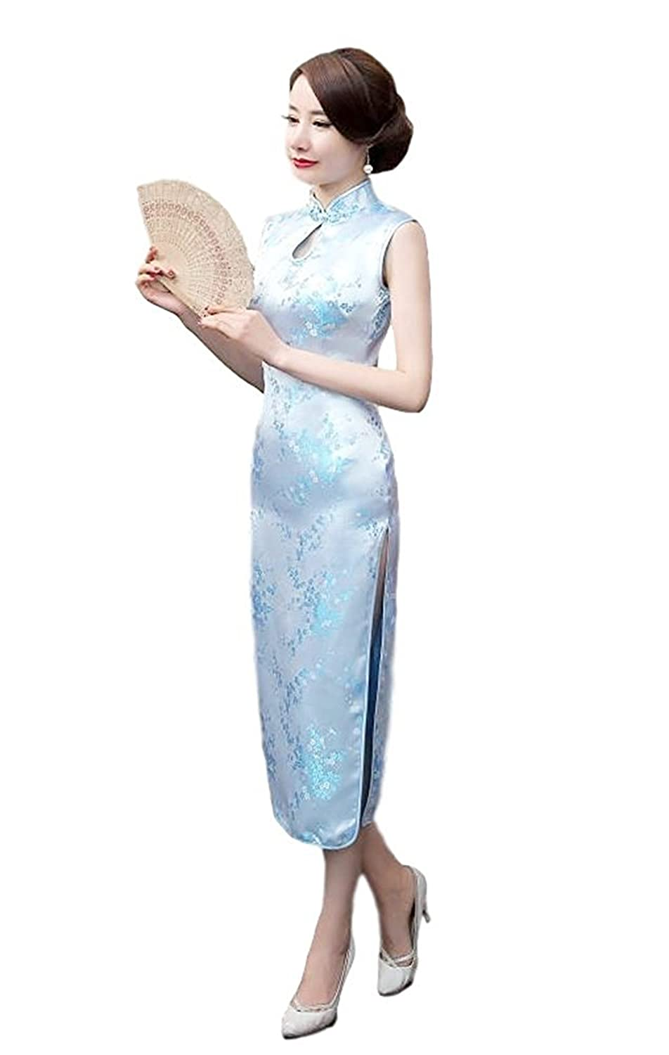 Maritchi Women's Long Chinese Wedding Dress Cheongsam Qipao Retro Long Flower Printing