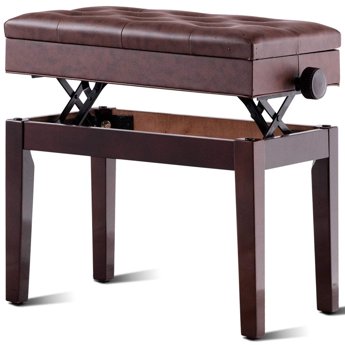 Giantex Adjustable Wooden Piano Bench with Music Storage and Padded  Cushion, PU Leather Comfortable Keyboard Stool with Anti-Slip Pad, Piano  Stool