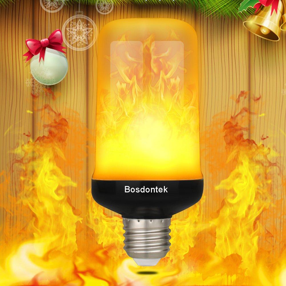 LED Flame Effect Light Bulb Bosdontek E26 Base Flickering Lamp Simulated Fire Decorative Atmosphere Lighting Fixture Vintage Flaming for Led Bulbs Bar Festival Home Party Wedding Decoration (Black)