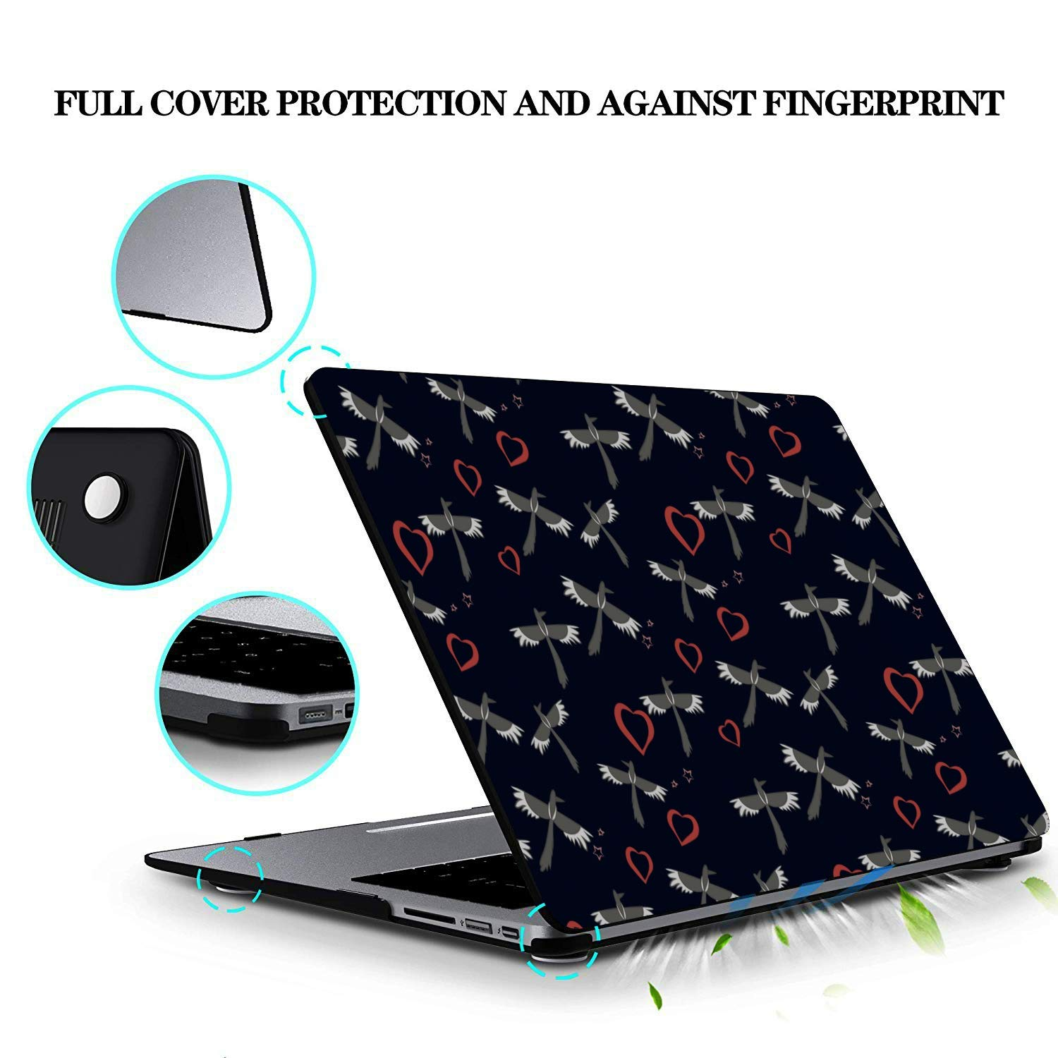 MacBook Air Shell Spring Cute Hummingbirds Flowers Plastic Hard Shell Compatible Mac Air 11 Pro 13 15 MacBook Air 13 Accessories Protection for MacBook 2016-2019 Version