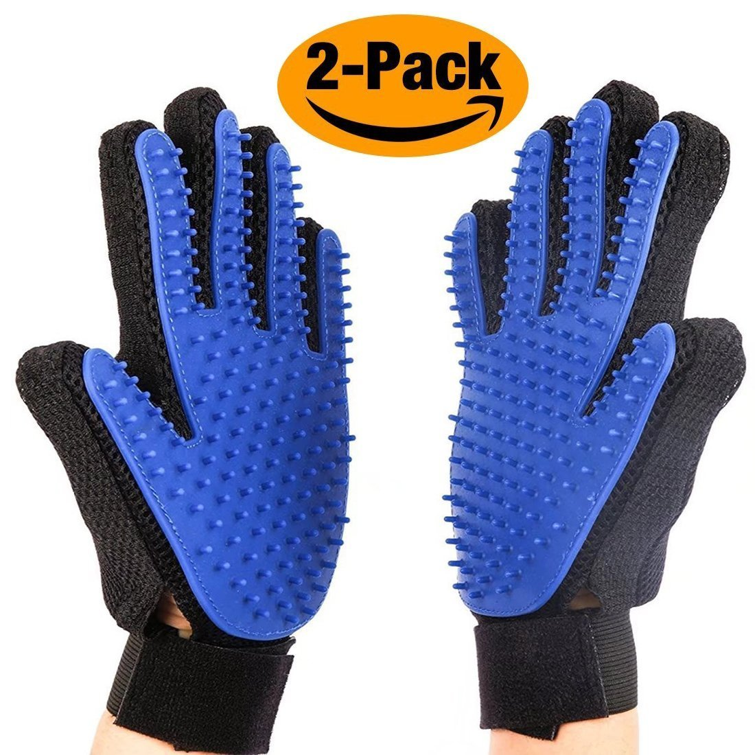 BuySevenSide Pet Grooming Glove - Gentle Deshedding Brush Glove - Efficient Pet Hair Remover Mitt with Enhanced Five Finger Design, Perfect for Dog, Cat and Horses with Long & Short Fur (blue)