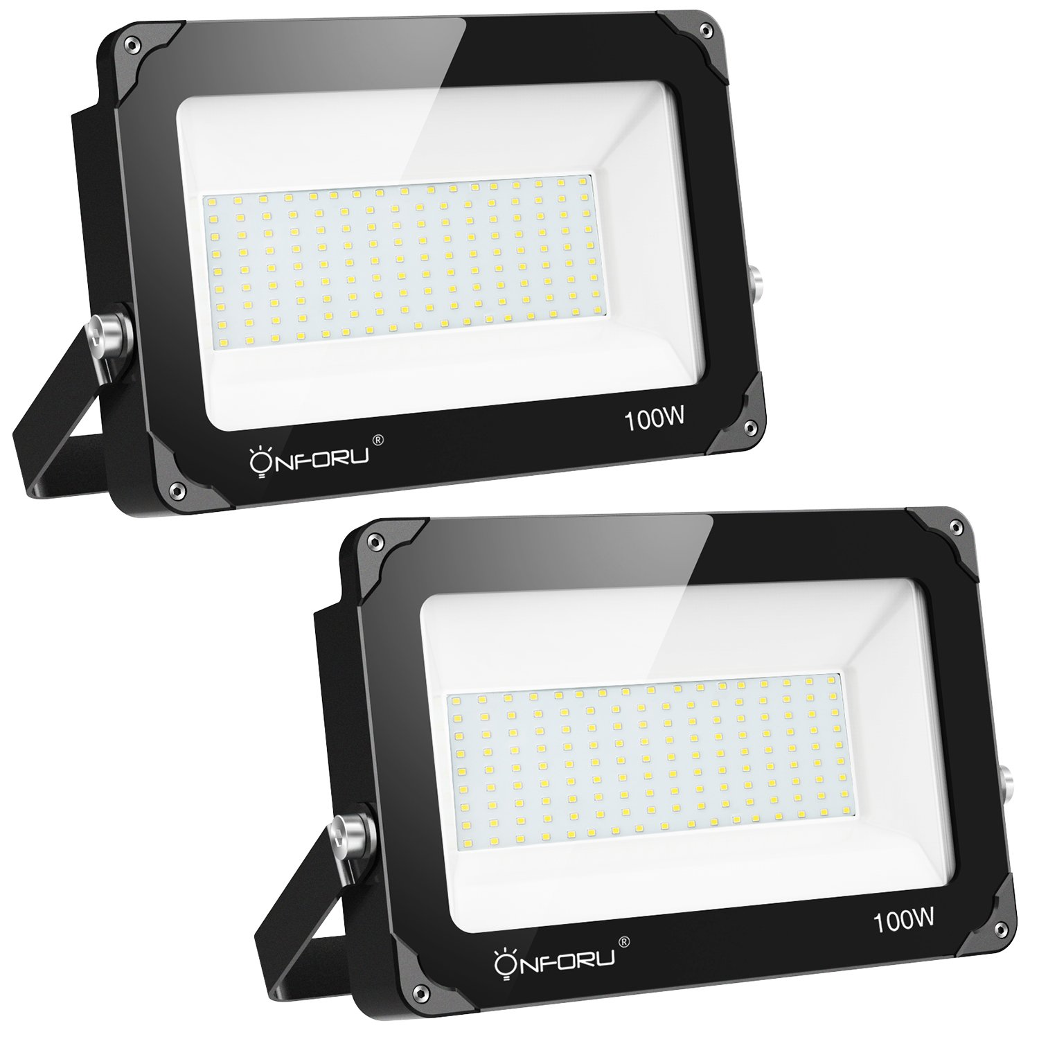 Onforu 2 Pack 100W LED Flood Light, 10000lm 5000K Daylight White, IP66 Waterproof Super Bright Security Lights, Outdoor Floodlight for Yard, Garden, Playground, Basketball Court