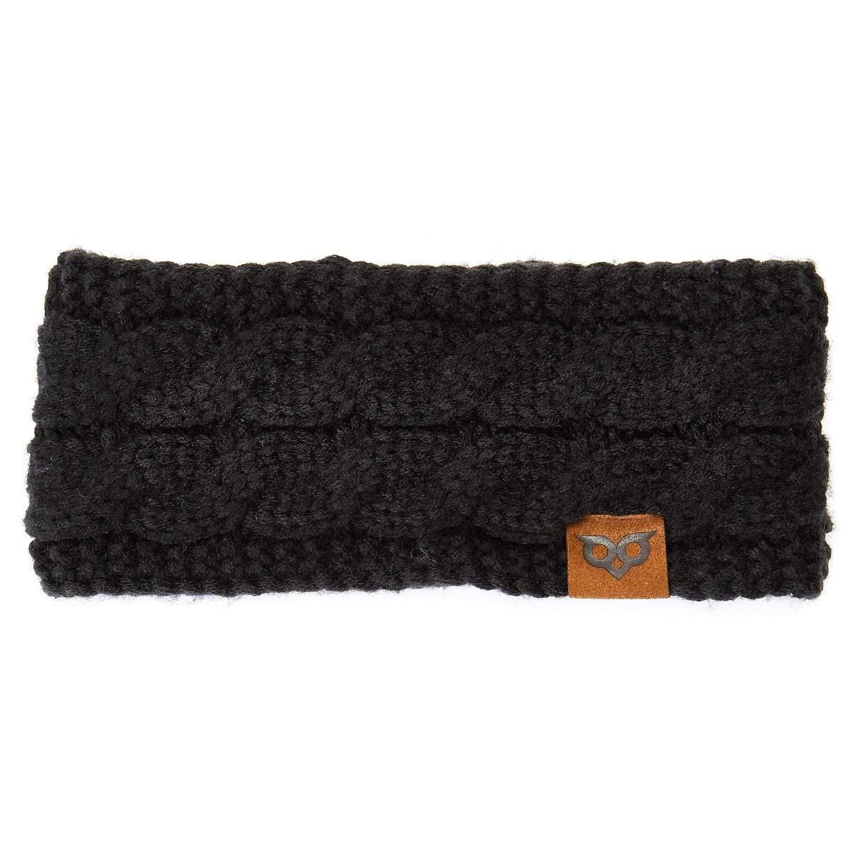 YOOWL Winter Beanie Headwrap Hat CapFashion Stretch Twisted Cable Knit Fuzzy Lined Ear Warmer Headband Women Black