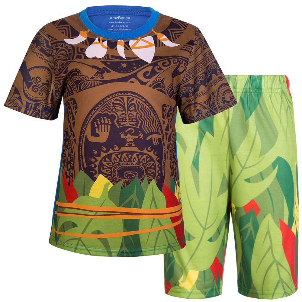 AmzBarley 2Pcs Boys Moana Maui Costume Pyjamas PJS Kids Long/Short Sleeve Sleepwear Maui Tattoo Pyjama Tops with Bottoms Set Sleepsuit Boys Maui Pyjamas