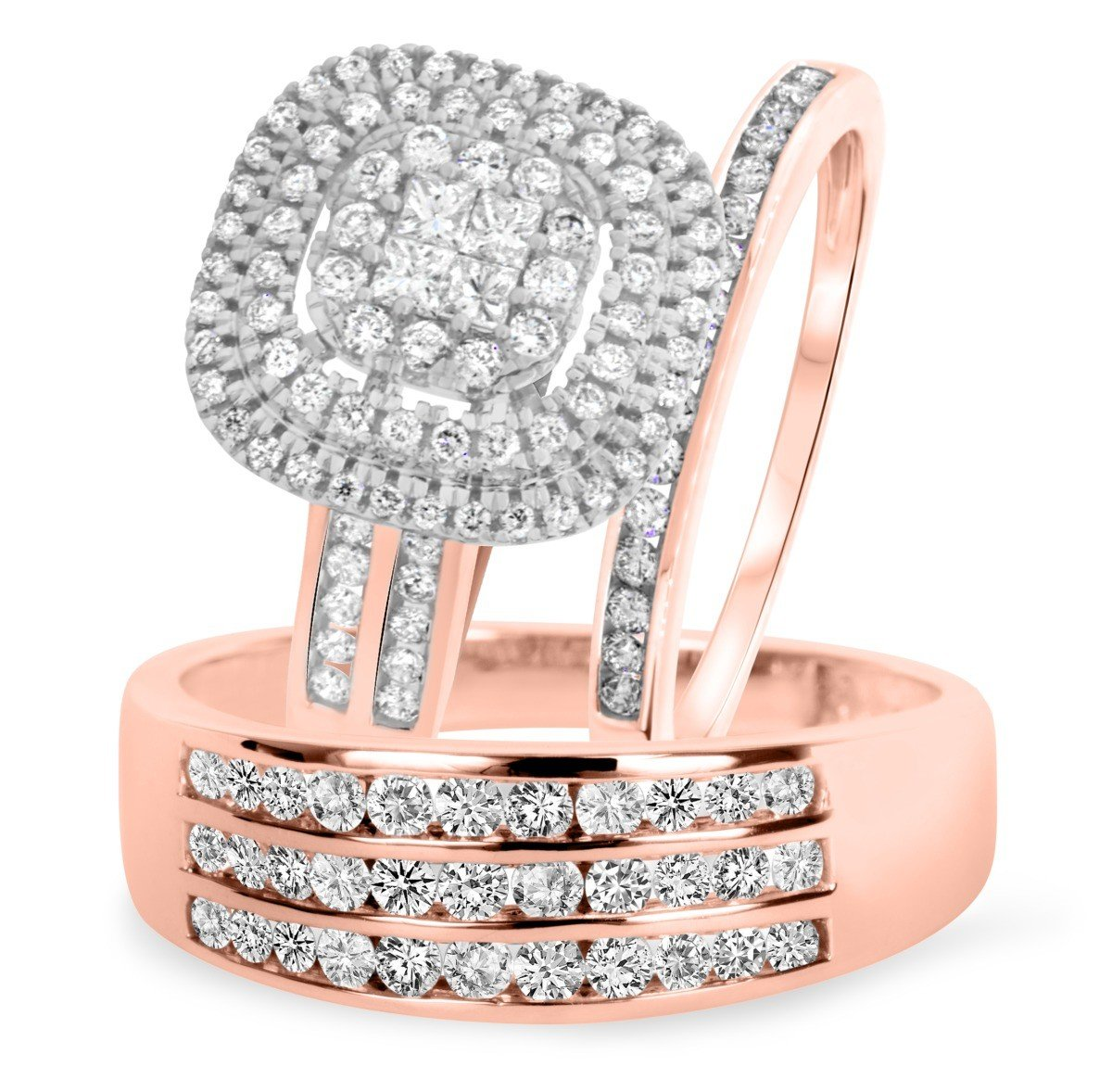 Smjewels 1 2/3 Ct Sim Diamond Men's & Women's Engagement Ring Trio Bridal Set 14K Rose Gold Fn