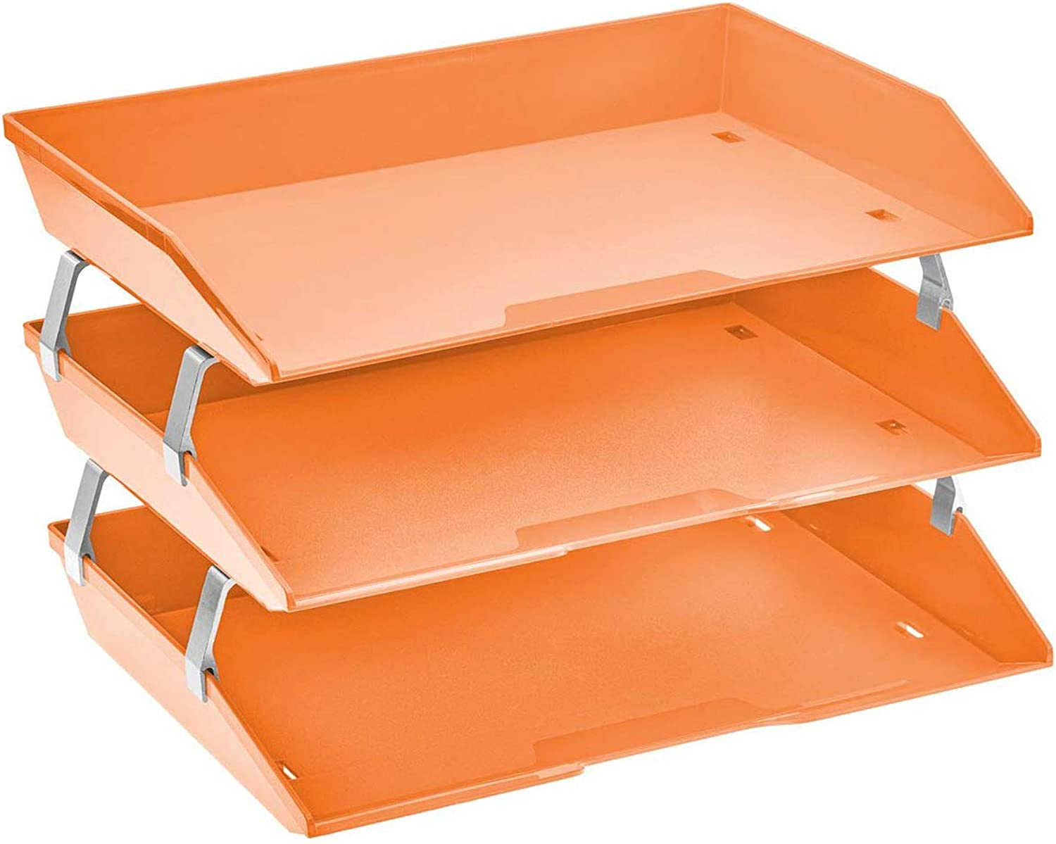 Acrimet Facility 3 Tier Letter Tray Side Load Plastic Desktop File Organizer (Orange Color)