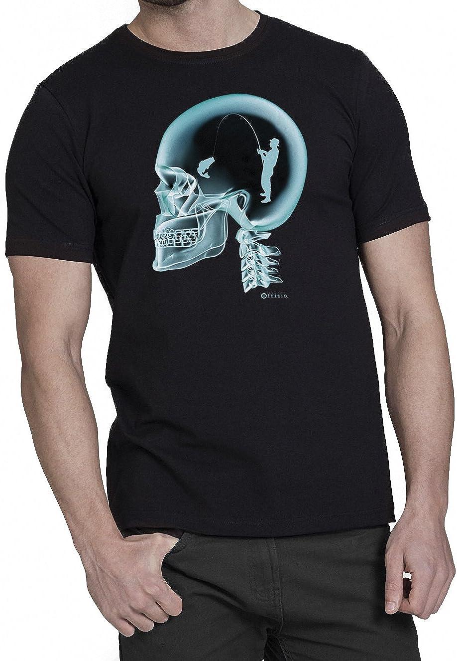 Fishing pesca En El Cerebro X-Ray Camiseta para hombre T-Shirt: Amazon.es: Ropa y accesorios
