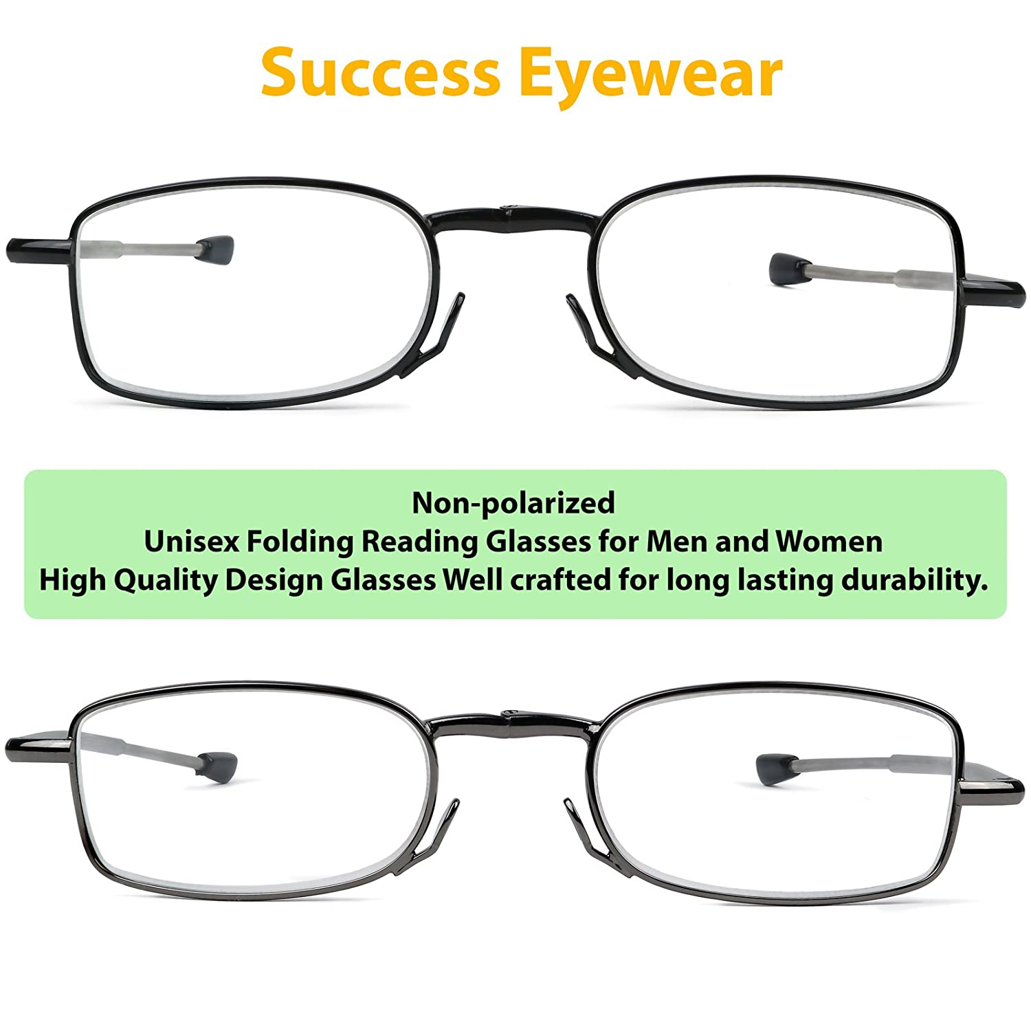 a2e16ee0597 Amazon.com  Reading Glasses 2 Pair Black and Gunmetal Readers Compact  Folding Unisex Glasses for Reading Case Included +.75  Clothing