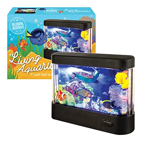 Global Gizmos - Acuario de plástico LED. Funciona con pilas. Color negro.