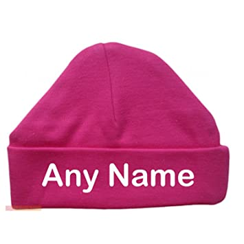 b6cf8d893 Personalised Newborn Baby Beanie Hat s (HOT PINK) - Soft 100% Cotton  headwear New Baby Grow Boy Clothing Girl Cute Mum Dad Mummy Daddy Custom  Parent ...