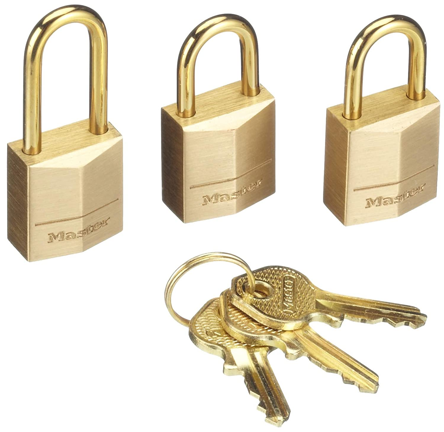 674e721d90a8 Master Lock Padlock, Solid Brass Body Lock, Keyed Alike, Best Used for  Backpacks, Luggage, Computer Bags and More (Pack of 3)