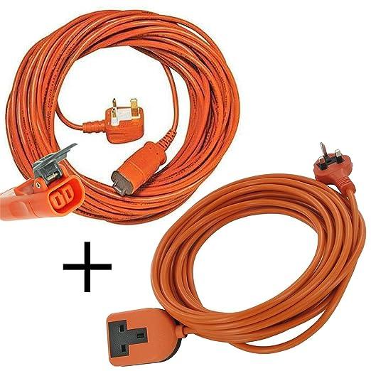 Spares2go 15 m de cable y enchufe para cortacésped Bosch ...