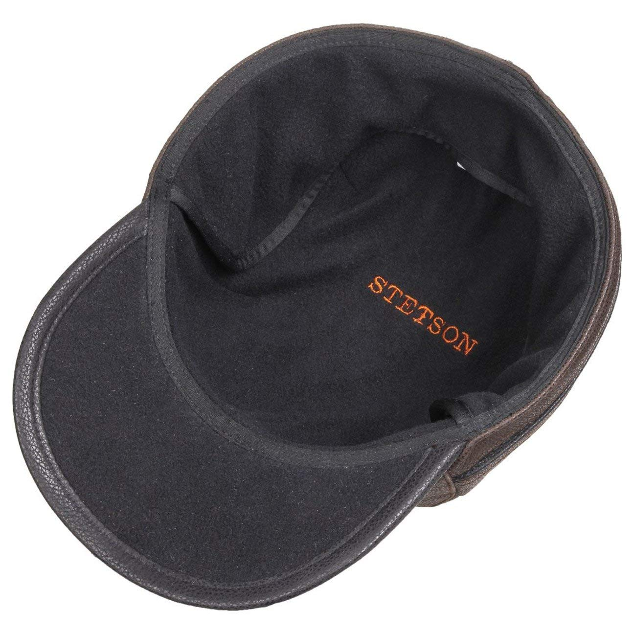 e0c8ff4d3 Stetson Byers Leather Cap Men | Made in Germany Winter Ear Flap hat Baseball  Closed Back, with Peak, Flaps, Lining Autumn-Winter: Amazon.co.uk: Clothing