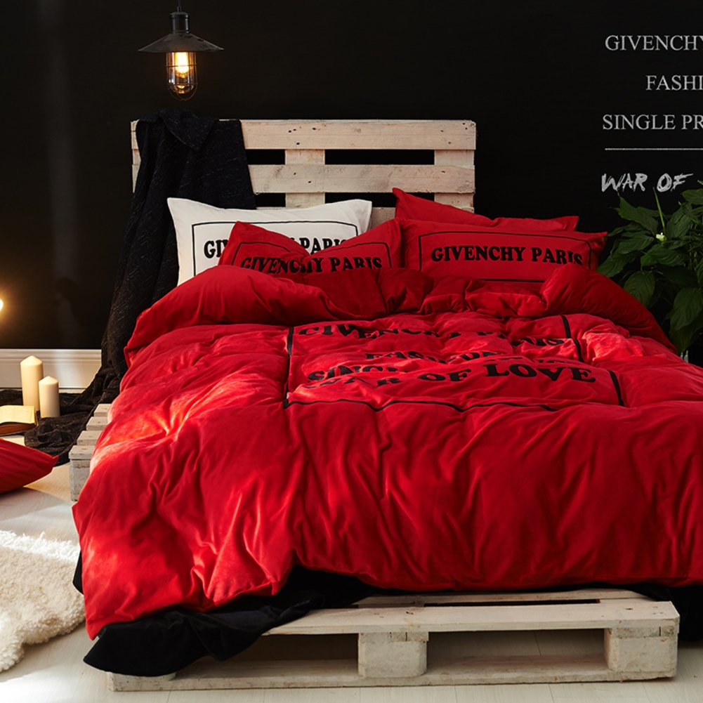 Thicken velvet warm autumn and winter bedding set wrinkle fade resistant hotel collection bed sheet gray blue red-C Queen2