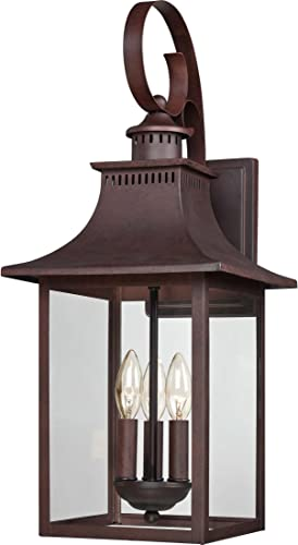 Quoizel CCR8410CU Chancellor Outdoor Lantern Wall Sconce, 3-Light, 180 Watts, Copper Bronze 24 H x 10 W