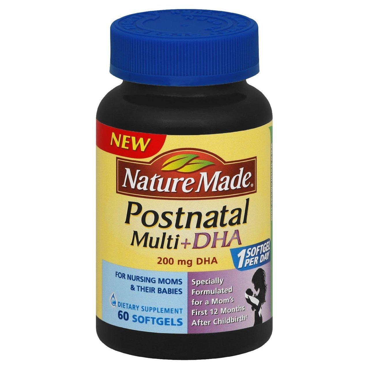 Nature Made Postnatal Multi + DHA (200 Mg) 60 Softgels (2 Pack)