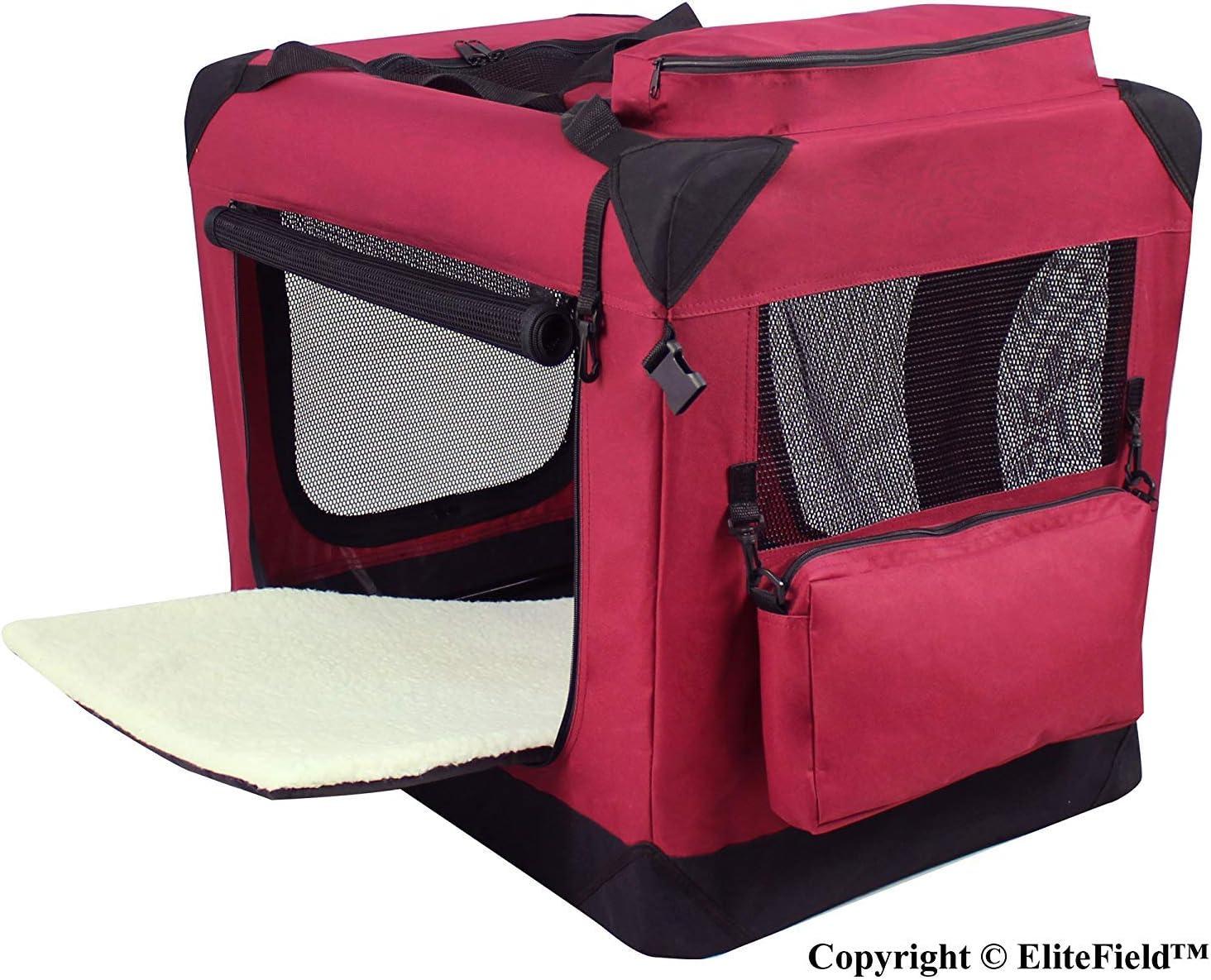 24 Long x 18 Wide x 21 High EliteField Maroon 24 3-Door Soft Dog Crate