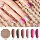 Fine Dipping Powder Brown Nude Dark Pink Purple Colors No Need Lamp Cure Dip Powder Nails,Like Gel Polish Effect, Even & Smooth Finishing (44-69-71-100-87-88-10g/box)