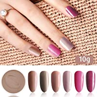 Fine Dipping Powder Brown Nude Dark Pink Purple Colors No Need Lamp Cure Dip Powder Nails,Like Gel Polish Effect, Even…