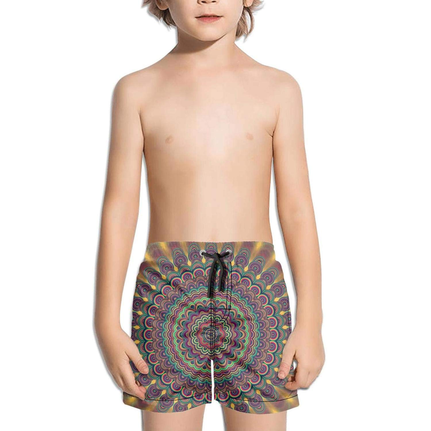 jhnkmmnc Bohemian Style Psychedelic Mandala Stripe Solid Quick Dry Swimming Trunks Shorts