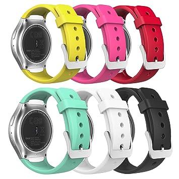 MoKo Gear S2 Watch Correa - [6Packs] Reemplaza Deportiva de Silicona Suave con Raya V de Arco Iris Colorido para Samsung Galaxy Gear S2 SM-R720 / ...