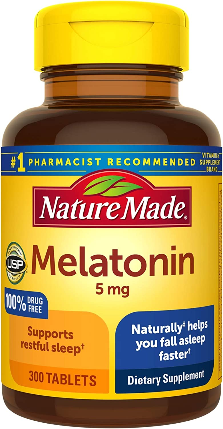 Nature Made Melatonin 5 mg Tablets, 300 Count for Supporting Restful Sleep† Value Size