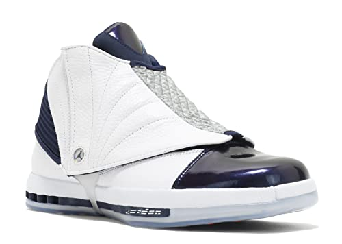 31905e3ed3e1 Nike Men s Air Jordan 16 XVI Retro White Midnight Navy 683075-106 (Size