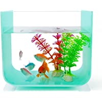 Fish Tank Aquarium 1.7 Gallon, Acrylic Fish Bowl with 4 Clear Foots, Small Betta Tank for Desktop/Office/Home Decor- NewCrea