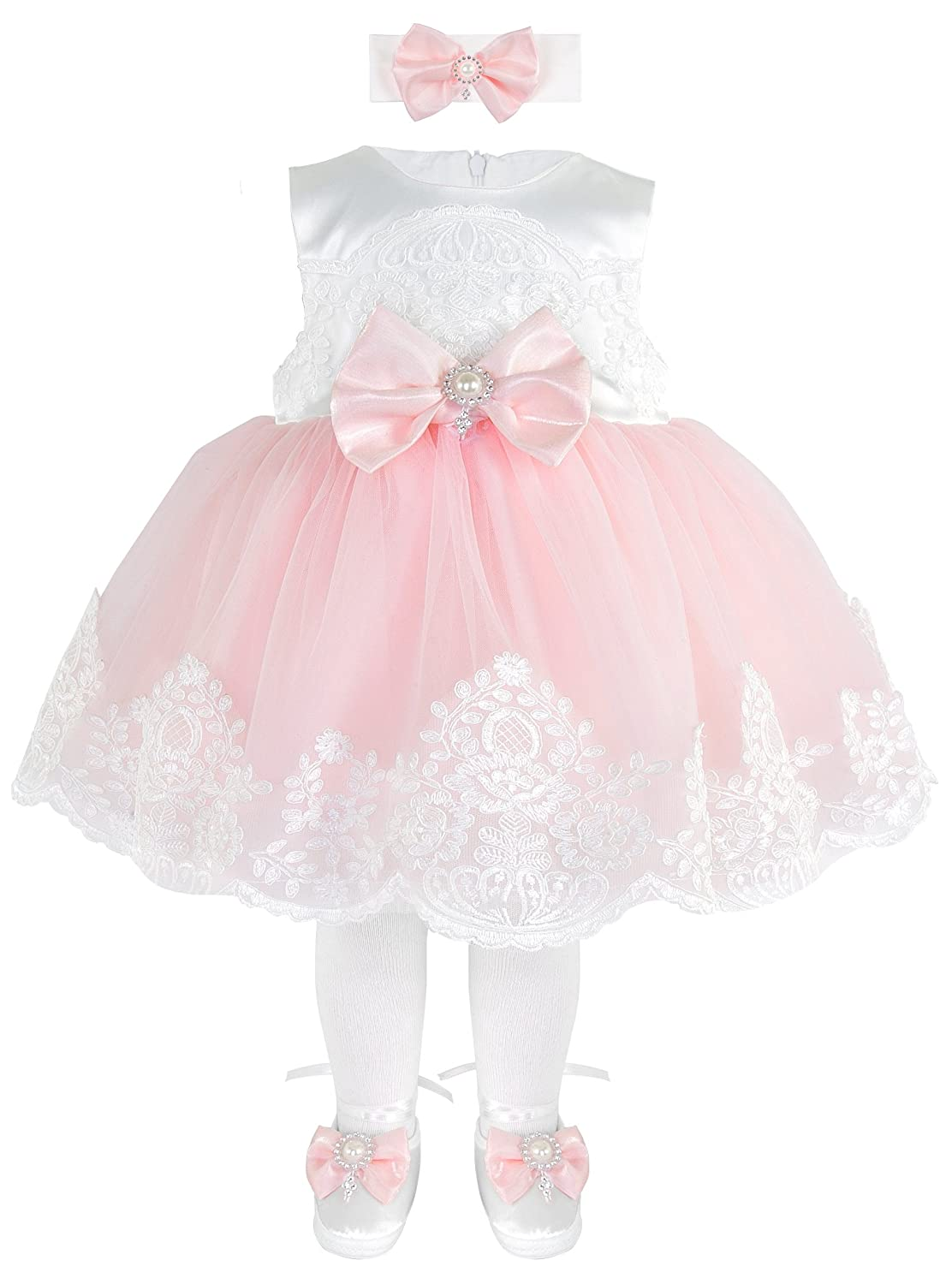 T.F. Taffy Taffy Baby Girl Newborn Pink Embroidered Princess Pageant Dress Gown 6 Piece Deluxe Set