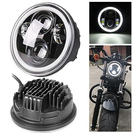 Amazoncom Hozan 5 34 Black Projector Led Headlight With White