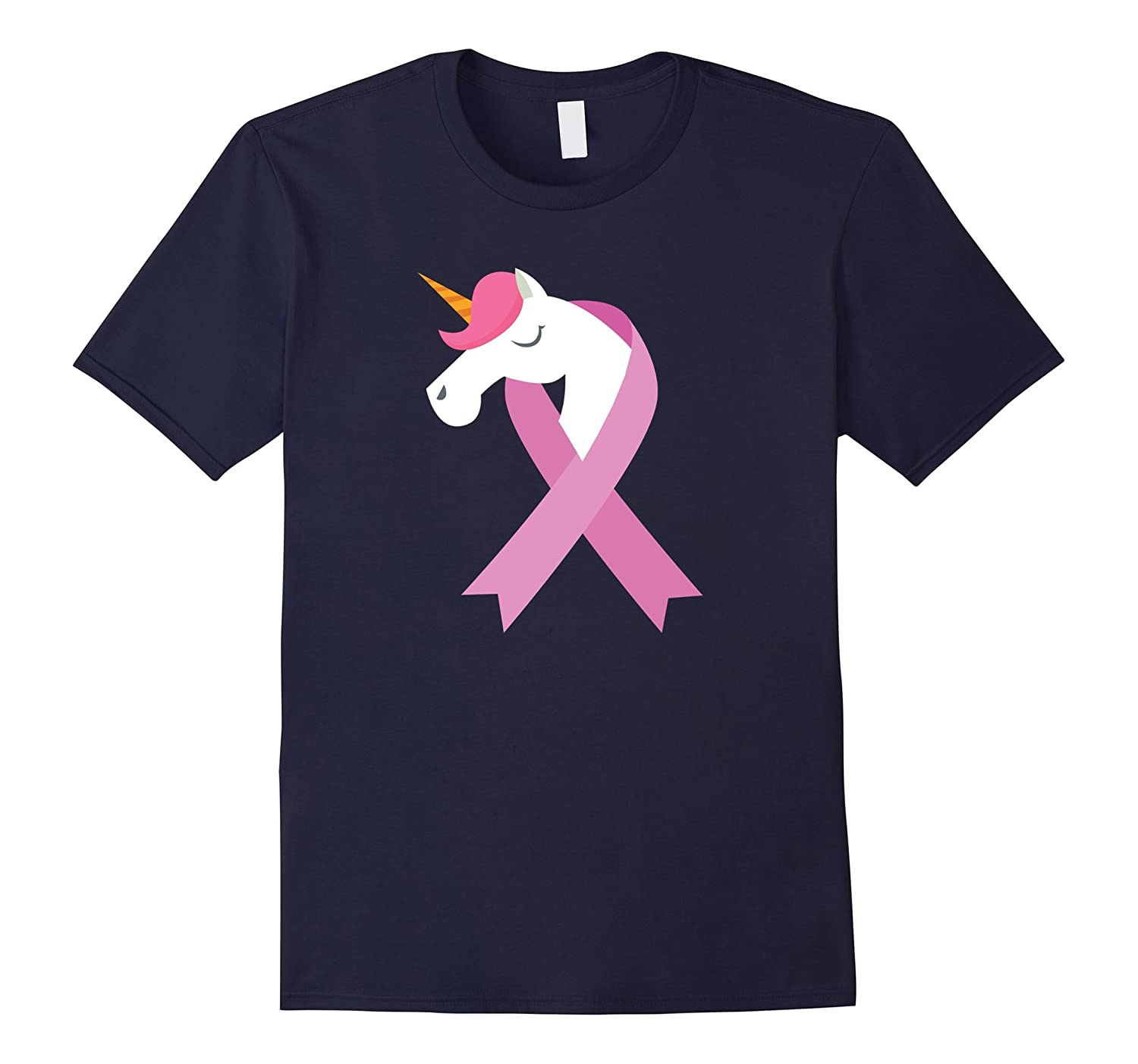 Breast Cancer Awareness T-Shirt Unicorn Pink Ribbon Tee-FL