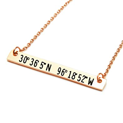 States Coordinates Bar Necklace 16quotx16quot In Rose Gold Personalized Birthday Gift