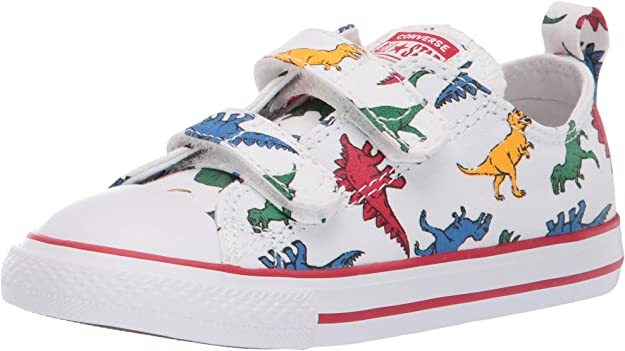 Recientemente Más Marina  Amazon.com   Converse Boys Chuck Taylor All Star Dinoverse 2V Low Top  Sneaker, White/Enamel Red/Totally Blue, 3 M US Infant   Sneakers