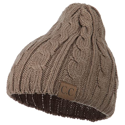 671e74a1a0f Amazon.com  Solid Cable Knit Beanie - Camel OSFM  Clothing